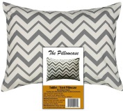 Toddler Travel Pillowcase 100% Cotton Pillow Case, Zigzag Grey Chevron Covers 36cm x 48cm , or 33cm x 46cm Toddler Baby Travel Pillows Naturally Hypoallergenic Envelope Style Cases Grey
