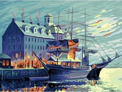 Dorara DIY Oil Painting Paint By Number Hand Paintworks 16×50cm Seaside castle lakeside castle Augusta Night