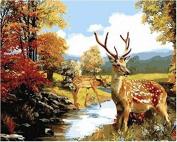 Dorara DIY Oil Painting Paint By Number Hand Paintworks 16×50cm Sika deer