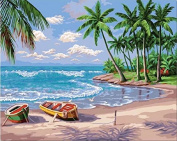 Dorara DIY Oil Painting Paint By Number Hand Paintworks 16×50cm Sunny Beach