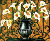 Dorara DIY Oil Painting Paint By Number Hand Paintworks 16×50cm Flowers in vases Calla
