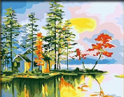 Dorara DIY Oil Painting Paint By Number Hand Paintworks 16×50cm Tropical Seaside Maple Villas