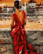 DIY Oil Painting for Adults Kids Paint By Number Kit Digital Oil Painting Best Seller Sexure Girl over River 41cm X 50cm