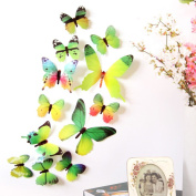 Wall Decal,12pcs Decal Wall Stickers Home Decorations 3D Butterfly Rainbow