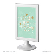 Andaz Press Twinkle Twinkle Little Star Mint Green Wedding Collection, Framed Party Signs, Thank You for Celebrating With Us, 10cm x 15cm , 1-Pack, Includes Frame