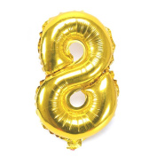 B-G 110cm Number 0-9 Thickening Gold Foil Digital Air-filled /Hydrogen / Helium Foil Mylar Balloons for Birthday Party Wedding Anniversary (Number 8) BA08