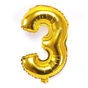 B-G 110cm Number 0-9 Thickening Gold Foil Digital Air-filled /Hydrogen / Helium Foil Mylar Balloons for Birthday Party Wedding Anniversary (Number 3) BA03