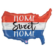Betallic Patriotic 4th of July Home Sweet Home 80cm Foil Balloon, Red White Blue