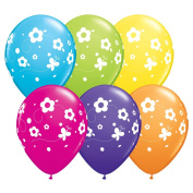 Qualatex Colourful Daisies & Butterflies 28cm Latex Balloons, Assorted, 6 CT