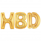 HBD Alphabet Word Balloons - Gold Foil Celebration Letters 100cm