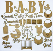 Creative Embellishments - It's a Baby 34 Piece Laser Cut and Engraved Chipboard set