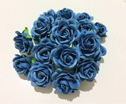 25 pcs Blue Rose Colour Mulberry Paper Flower 30mm scrapbooking wedding doll house supplies card