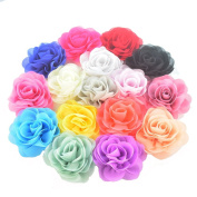 16 Pieces 8cm Different Colours Handmade Chiffon Flowers for DIY Baby Flower Headband Girl Flower Accessories