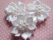 YYCRAFT Pack Of 30 Satin 3.8cm Ribbon Flower Craft Bow-white