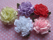 YYCRAFT Pack Of 40 Ribbon Cabbage Rose W/leaf Flower Appliques/Craft-5 Colours