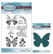 Prickley Pear Butterfly Clear Stamp and Die Set # 2 Butterflies - CLR001A & PPRS-D001 - Bundle 2 Items