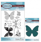 Prickley Pear Butterfly Clear Stamp and Die Set # 1 Butterflies - CLR001 & PPRS-D001 - Bundle 2 Items