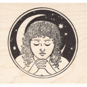 Night Woman Rubber Stamp