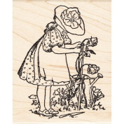 Gardening Girl With Rose Bushes Rubber Stamp