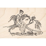 Lady at Pond Rubber Stamp