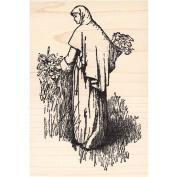 Nun Picking Lilies in Garden Rubber Stamp