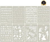 SKATAN 8Pcs Drawing Painting Stencils , Fits a Wide Range of Scrapbooking, Crafting, Cards, Include 5 Letter Nunber & 3 Graphics