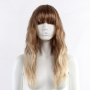 STfantasy Brown Mixed Blonde Display Female Ombre Mannequin Wigs Long Natural Wave Synthetic Hair Blunt Bang Peluca 60cm 165g