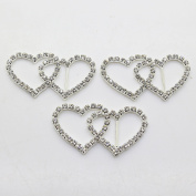 20pcs 50mm x 25mm Double Heart Shaped Rhinestone Buckle Slider for Wedding Invitation Letter