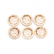 LALANG 100pcs Handmade With Love Buttons Scrapbooking Sewing Wood Button 25mm 20mm 15mm