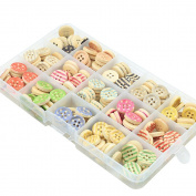 Riverbyland Mixed Colour Wooden Buttons 200pcs With Box.