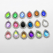 50pcs 21mm x 17mm Water Droplet Shape Acrylic Embellishment Rhinestone Button Flateback DIY Accessories Mix 18 Colours