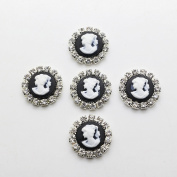 50pcs 18mm Round Resin Beauty Head Flatback Rhinestone Buttons Diy Accessories Wedding Invitation Beauty Avatar Shiny
