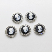 50pcs 16mm Round Resin Beauty Head Flatback Rhinestone Buttons Diy Accessories Wedding Invitation Beauty Avatar Shiny