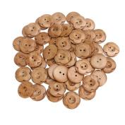ULTNICE 50pcs Sewing Buttons Round Flower 2 Holes Wooden Buttons 30mm Random Colour