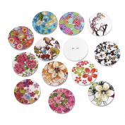 100 Count Floral Birds and Butterfly Pattern Wood Buttons Two Holes 25mm Diameter Craft Wood Buttons