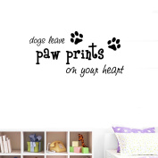 BIBITIME Puppy Footprints Wall Decal Quotes dogs leave paw prints on your heart Sayings Art Sticker for Nursery Study Baby Bedroom Kids Room Decor