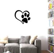 BIBITIME Adorable Puppy Paw Heart Decal Valentine's Day Cuddly Dog Footprint Sticker Pet Window Vinyl Decor for Couple Bedroom Nursery Kids Room,DIY 45cm x 50cm