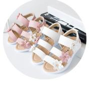 Ecosin Summer Kid Children Sandal Fashion Big Flower Girl Flat Pricness Shoes