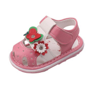 Ecosin Baby Flowers Girl Slip-On Sandal With Sound Soft-Soled Baby Shoes Sandal