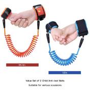 Uarter Child Anti Lost Belts Anti-lost Wrist Straps Anti-lost Wrist Link Anti-lost Wristband, 2Pcs, Red and Blue