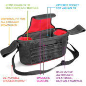 Universal Baby Stroller Organiser Bag 2 Zippered Pockets Many Compartments Two Deep Bottle Holders Magnetic Closure Best Stroller Organiser Detachable BONUS Shoulder Strap A MUST HAVE for Parents!