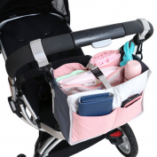 Roomy Nappy Bag Stroller Hang Bag Multi-function Insert Organiser . Baby Mummy Bag 10 Pockets Tote Bag Travel Comestic Toiletry Bag Mankeup Bag Handbag, Pink