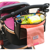 LuckyZ Universal STROLLER organiser Bag for Smart Parents Fits All Strollers Extra-Large Storage Space for iPhones Wallets Nappies Milk Bottle Toys, Pink