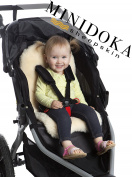 Baby Sheepskin Stroller Liner / Seat Cover / Naturally Breathable for Year Round Comfort, Easy Universal Fit, by Minidoka Sheepskin