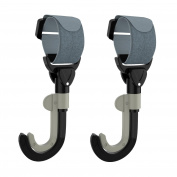TWO PACK - New Durable Stroller Hooks with Secure Black Hook and loop Strap - 360 & 180 Degree Swivel Double Hook Design - Heavy Duty - .