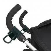 Cindy & Will 2Pcs Anti-slip Synthetic Leather and Metal Hook and loop Baby/Infant Stroller/Pushchiar Hook/Hanger/Carabiner---Fit Horizontal and Diagonal Stroller Bar, Black