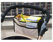 Herasa Stroller Organiser Bag Nappy Bag Organiser Stroller Storage Basket, Five Compartments, Black Point