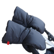 Tofern Stroller Accessories Winter Fleece Waterproof Anti-Freeze Pram Buggy Pushchair Hands Warmer Gloves Muffs, black