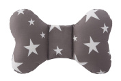 Head & Neck Support Baby Pillow Organic Cotton, Best Headrest for Car Seat, Stroller for Infant, Babies & Toddler StarDreams Grey