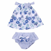 FEESHOW 2PCS Infant Baby Girls Floral Bowknot Outfits Sleeveless Vest Tops with Bloomers Pants Clothes Set
